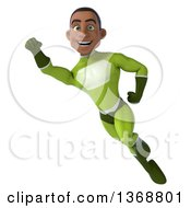 Clipart Of A 3d Young Black Male Super Hero In A Green Suit Flying On A White Background Royalty Free Illustration