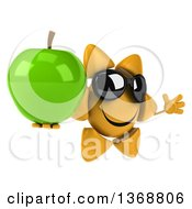 Clipart Of A 3d Sun Character Holding A Green Apple On A White Background Royalty Free Illustration