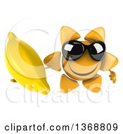 Clipart Of A 3d Sun Character Holding A Banana On A White Background Royalty Free Illustration