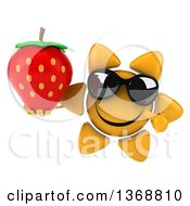 Clipart Of A 3d Sun Character Holding A Strawberry On A White Background Royalty Free Illustration