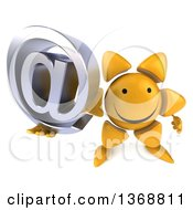 Clipart Of A 3d Sun Character Holding An Email Arobase At Symbol On A White Background Royalty Free Illustration