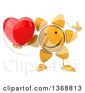 Clipart Of A 3d Sun Character Holding A Heart On A White Background Royalty Free Illustration