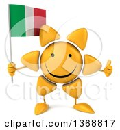 Clipart Of A 3d Sun Character Holding An Italian Flag On A White Background Royalty Free Illustration