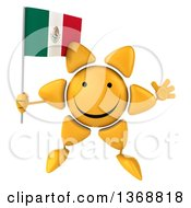 Clipart Of A 3d Sun Character Holding A Mexican Flag On A White Background Royalty Free Illustration