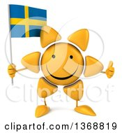Clipart Of A 3d Sun Character Holding A Swedish Flag On A White Background Royalty Free Illustration