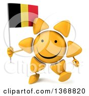 Clipart Of A 3d Sun Character Holding A Belgian Flag On A White Background Royalty Free Illustration
