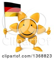 Clipart Of A 3d Sun Character Holding A German Flag On A White Background Royalty Free Illustration