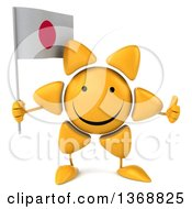 Clipart Of A 3d Sun Character Holding A Japanese Flag On A White Background Royalty Free Illustration
