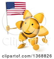 Clipart Of A 3d Sun Character Holding An American Flag On A White Background Royalty Free Illustration