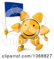 Clipart Of A 3d Sun Character Holding A European Flag On A White Background Royalty Free Illustration