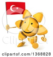Clipart Of A 3d Sun Character Holding A Turkish Flag On A White Background Royalty Free Illustration