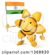 Clipart Of A 3d Sun Character Holding An Indian Flag On A White Background Royalty Free Illustration