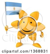Clipart Of A 3d Sun Character Holding An Argentine Flag On A White Background Royalty Free Illustration