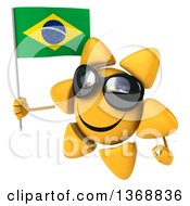 Clipart Of A 3d Sun Character Holding A Brazilian Flag On A White Background Royalty Free Illustration