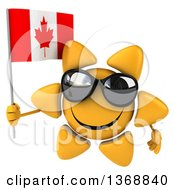 Clipart Of A 3d Sun Character Holding A Canadian Flag On A White Background Royalty Free Illustration