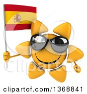 Clipart Of A 3d Sun Character Holding A Spanish Flag On A White Background Royalty Free Illustration