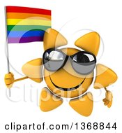 Clipart Of A 3d Sun Character Holding A Rainbow Flag On A White Background Royalty Free Illustration