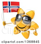 Clipart Of A 3d Sun Character Holding A Norwegian Flag On A White Background Royalty Free Illustration