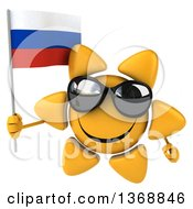 Clipart Of A 3d Sun Character Holding A Russian Flag On A White Background Royalty Free Illustration