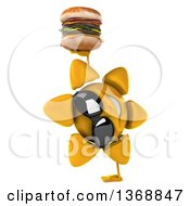 Clipart Of A 3d Sun Character Holding A Double Cheeseburger On A White Background Royalty Free Illustration