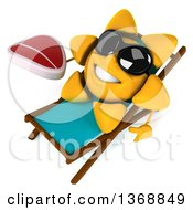 Clipart Of A 3d Sun Character Holding A Beef Steak And Resting In A Chair On A White Background Royalty Free Illustration