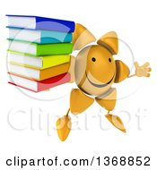 Clipart Of A 3d Sun Character Holding A Stack Of Books On A White Background Royalty Free Illustration