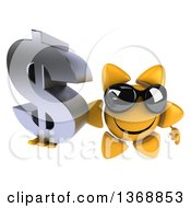 Clipart Of A 3d Sun Character Holding A Dollar Symbol On A White Background Royalty Free Illustration