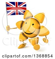 Clipart Of A 3d Sun Character Holding A British Union Jack Flag On A White Background Royalty Free Illustration