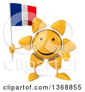 Clipart Of A 3d Sun Character Holding A French Flag On A White Background Royalty Free Illustration