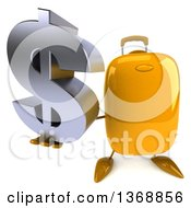 Clipart Of A 3d Yellow Suitcase Character Holding A Dollar Symbol On A White Background Royalty Free Illustration