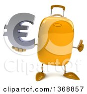 Clipart Of A 3d Yellow Suitcase Character Holding A Euro Symbol On A White Background Royalty Free Illustration