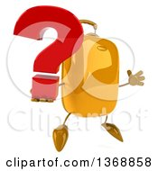 Clipart Of A 3d Yellow Suitcase Character Holding A Question Mark And Jumping On A White Background Royalty Free Illustration