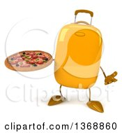 Clipart Of A 3d Yellow Suitcase Character Holding A Pizza On A White Background Royalty Free Illustration