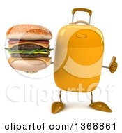 Clipart Of A 3d Yellow Suitcase Character Holding A Double Cheeseburger On A White Background Royalty Free Illustration