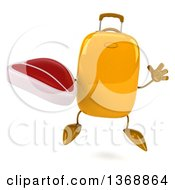 Clipart Of A 3d Yellow Suitcase Character Holding A Beef Steak On A White Background Royalty Free Illustration