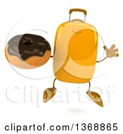 Clipart Of A 3d Yellow Suitcase Character Holding A Donut On A White Background Royalty Free Illustration