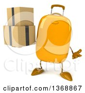 Clipart Of A 3d Yellow Suitcase Character Holding Boxes On A White Background Royalty Free Illustration