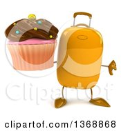 Clipart Of A 3d Yellow Suitcase Character Holding A Cupcake On A White Background Royalty Free Illustration