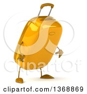 Clipart Of A 3d Yellow Suitcase Character Looking Down On A White Background Royalty Free Illustration