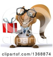 Clipart Of A 3d Doctor Or Veterinarian Squirrel Holding A Gift On A White Background Royalty Free Illustration