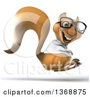 Clipart Of A 3d Doctor Or Veterinarian Squirrel Hopping On A White Background Royalty Free Illustration