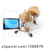 Clipart Of A 3d Doctor Or Veterinarian Squirrel Holding Up A Tablet Computer On A White Background Royalty Free Illustration