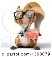 Clipart Of A 3d Doctor Or Veterinarian Squirrel Holding A Piggy Bank On A White Background Royalty Free Illustration