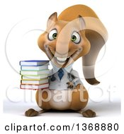Clipart Of A 3d Doctor Or Veterinarian Squirrel Holding A Stack Of Books On A White Background Royalty Free Illustration