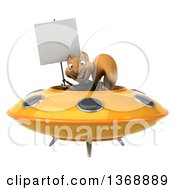Clipart Of A 3d Business Squirrel Flying A Ufo On A White Background Royalty Free Illustration