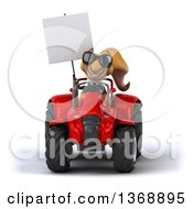 Clipart Of A 3d Business Squirrel Operating A Tractor On A White Background Royalty Free Illustration