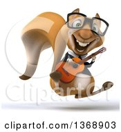 3d Business Squirrel Hopping And Playing A Guitar On A White Background