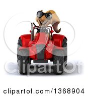 Poster, Art Print Of 3d Business Squirrel Operating A Tractor On A White Background