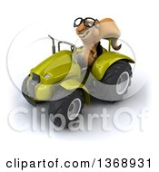Poster, Art Print Of 3d Squirrel Operating A Tractor On A White Background
