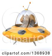 Clipart Of A 3d Squirrel Flying A Ufo On A White Background Royalty Free Illustration